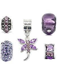 c0a20b00b Truly Charming Silver Purple Charm Bead Set Of 5 For European Style  Bracelets