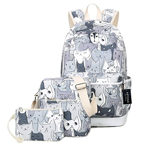 Artone Water Resistant Cartoon Cats Daypack 3 Pieces Patterned School Backpack Crossbody Bag Pencil Case Set Gray