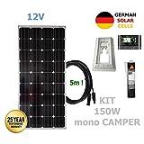 VIASOLAR 150W 12V Monokristallin Solaranlage Camper Solarmodul deutsche Solarzellen