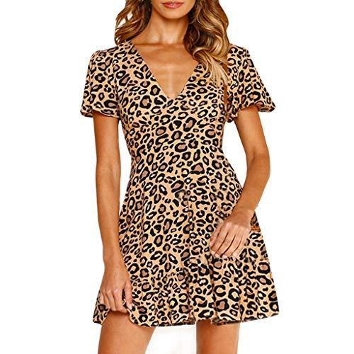 T-Shirt Bluse Damen Leopardenmuster Minikleid Damen Sexy Wickelkleid Clubwear Partykleid ()