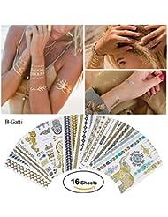 Tätowierung Wasserdicht Metallic Temporäre Tattoo 16 Sheets in Gold Silber Aufkleber Körper Gefälschte Schmuck Tattoos Über 200 Designs für Frauen Jugendliche Mädchen Body Art
