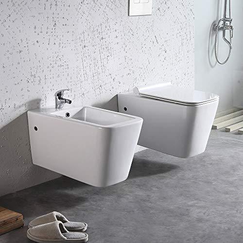 Coppia di Sanitari WC e Bidet Sospesi Filo Muro in Ceramica 36,5x58x33cm Ginelli Bianco