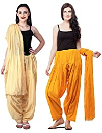 Fashion Store Women Cotton Patiala Salwar With Dupatta Combo Of 2(Free Size Skin & Orange)