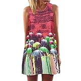 VEMOW Damenkleider Vintage Boho Frauen Sommerkleider Sleeveless Strand Gedruckt Kurzes Minikleid Eine Linie Abendkleid Täglich beiläufige Partei Weste T-Shirt Kleid Plus Size Rock(Rot, EU-46/CN-XL)