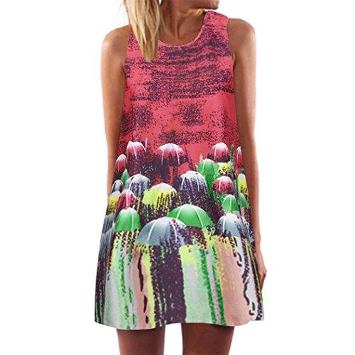 VEMOW Damenkleider Vintage Boho Frauen Sommerkleider Sleeveless Strand Gedruckt Kurzes Minikleid...