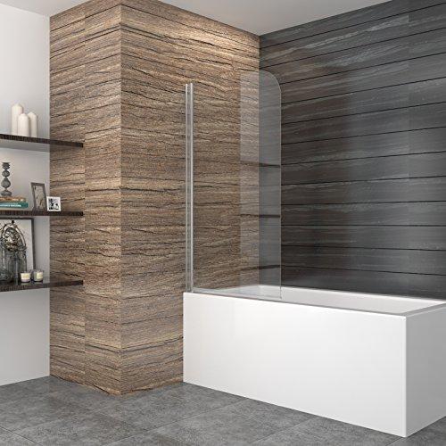 80*140cm Badewannenaufsatz Badewannenspritzschutz Duschtrennwand aus ESG Klarglas 180 Grad schwenkbar mit Hebesenk-Mechanismus