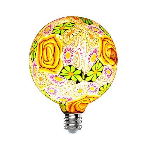 Hobaca Fleurs En Verre G125 (φ 125mm) E27 Grand LED Edison Ampoule Nouveauté Vacances Salon Décoration Navidad Noël Décor À La Maison Lumières Warm White 2700K, 4W Équivalent 25W, 220V