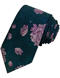 TED BAKER London Mens 100% Woven Silk Neck Tie Necktie Green Purple Lilac Floral Leaves