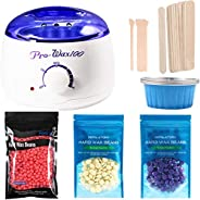 Fmystery Wax Warmer Hair Removal Kit, Wax Kit for Women with Hard Wax Beans, Portable Electric Waxing Heating