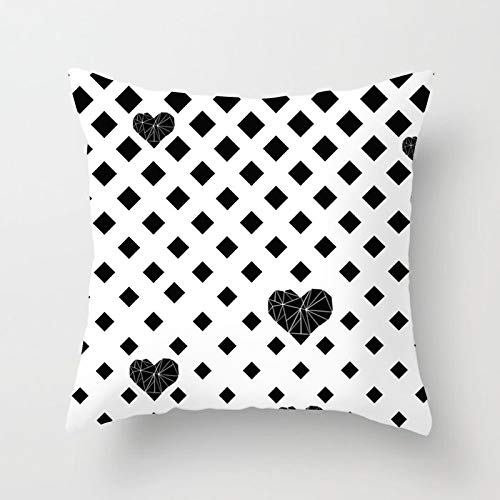 PotteLove Geometric Black and White Striped Dotted Grid Triangular Art Polyester Square Decorative Throw Pillow Covers Case Cushion Pillowcase for Sofa Bench Bed Home Decor 20
