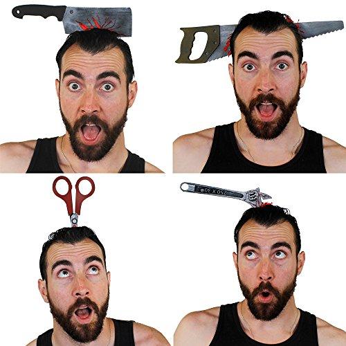 Accessori halloween attraverso testa fascia - ascia attraverso testa burla - perfetto divertente accessorio di halloween - 4 vari accessori disponibile: sega, chiave inglese, mannaia e forbici