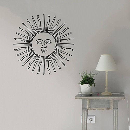 Celestial Home Decor (Hippie Sun Wall Decal Wall Art Celestial Vintage Styled Boho Style Solar Pagan Wall Art Wall Sticker Bohemian Gypsy Home Decor)