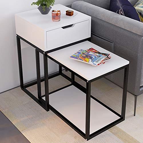 FEI - Computer-Schreibtisch Nesting Table Set von 2 Home Holz Metallrahmen Sofa Side End Couchtisch, Akzent Tabelle für alle Workstations (Farbe : Weiß) (Holz Nesting Tables)