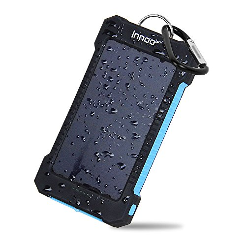 Innoo Tech 10000mAh Cargador Solar Portátil Impermeable Batería Externa 2 Puertos USB Panel Solar Alta Conversión Inteligente Compatible con iphone, Android, Tablet y Otros Dispositivos, etc