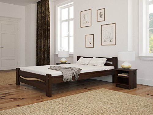 Solid Pine Wooden Bed Frame Super King Size 6ft In Walnut Colour & Sturdy Thick Slats
