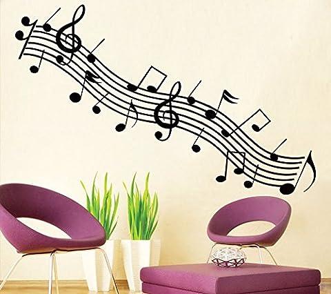 ufengke® Série de Musique de Mode Rythme Noir et Noir Notes Musicales Stickers Muraux, Salle de Séjour Chambre à Coucher Autocollants Amovibles