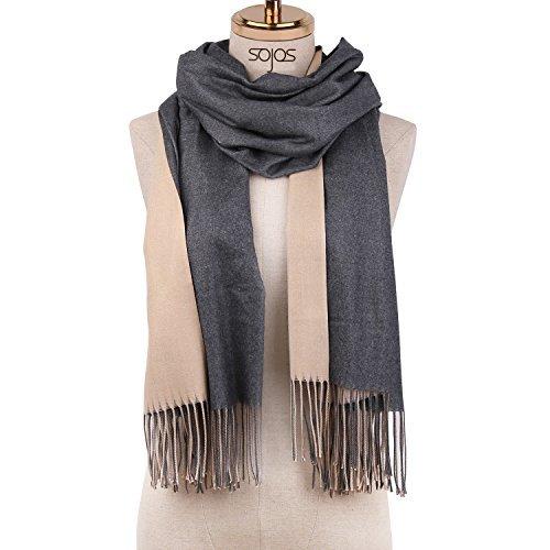 SOJOS Beidseitig Farbig Reversible Kaschmir Wolle Damen Schal Schals Poncho SC302 Grau Beige (Schal Muster Reversible)