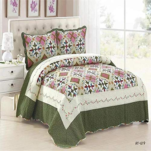 WSF-quilts, Queen-Size Patchwork Gesteppte Tagesdecken Baumwolle Quilts Set Moderne Plaid leichte Sommer Tagesdecken Couvre Lit (Color : Light Green, Size : 3 Piece 230x250cm)