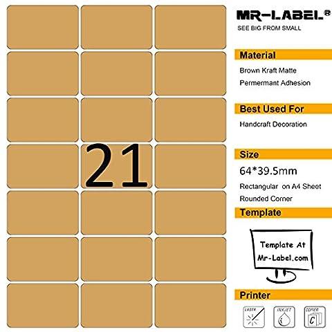 Mr-label Blank Label Kraft Brown Autocollant - Rectangle arrondi, Permanent auto-adhésif, Matt, Laser / Jet d'encre - pour l'artisanat, cadeaux, pâtisseries maison Paquet, Envelope Seals - 525 étiquettes - 25 feuilles A4