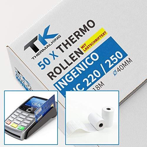 50 x EC Cash Thermorollen mit Sepa-Lastschrifttext | B: 57mm – DM: 40mm - Kern DM: 12mm – L: 18m für Ingenico ict220 ict250 iwl250 und alle anderen EC-Cash-Thermodrucker