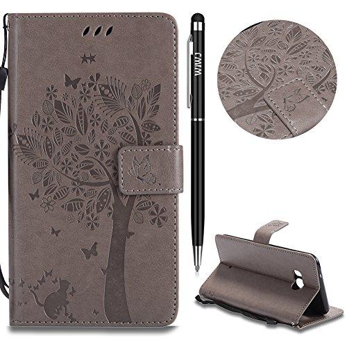 WIWJ Schutzhülle für HTC U11 Handyhülle Leather Case für HTC U11 Hülle [Impressum Katze und Baum Handy-Shell] Hülle für HTC U11-Grau Htc Panda