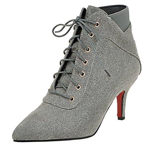 Artfaerie Damen Kitten High Heels Stiefeletten mit Schnürung und Spitze Warm Gefüttert Ankle Boots Elegante Schuhe(EU 38,Grau)