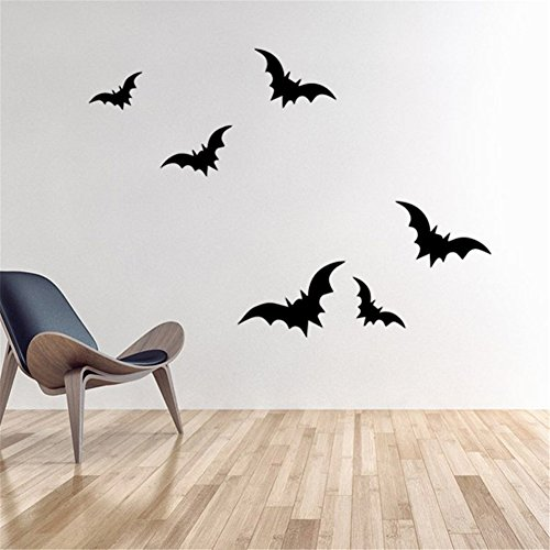 BIBITIME Scary Halloween Wand Aufkleber Vinyl Home Decor Shop Fenster Aufkleber Room Art Wandmalereien Pub Bar Innen Scene Setter Art Deco DIY Size 6 Pcs Bats (Halloween-dekorationen Diy Billig)