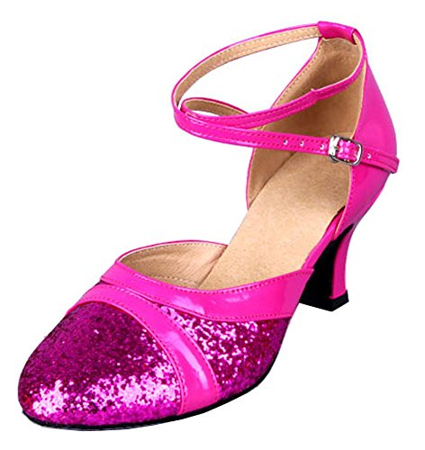 Honeystore Damen's Pailletten Runde Toe Latein Tanzschuhe Fuchsie 3.5 UK