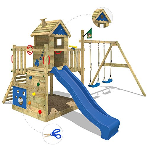 WICKEY Play tower Smart Lodge Climbing frame Tree house garden with ...