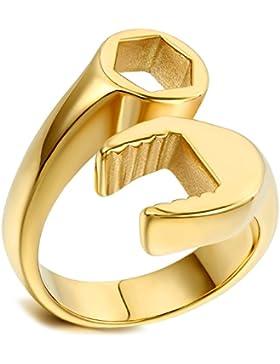 Flongo Edelstahl Ring Ringe Gold Golden Mechaniker Schraubenschlüssel Werkzeug Motorradfahrer Biker Polished Herren...