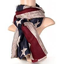 769561a33841 JewelryWe Accessoires Foulard Fille et Femme Large Longue USA Drapeau  Américain Vintage Tendance Collection Coton Echarpe