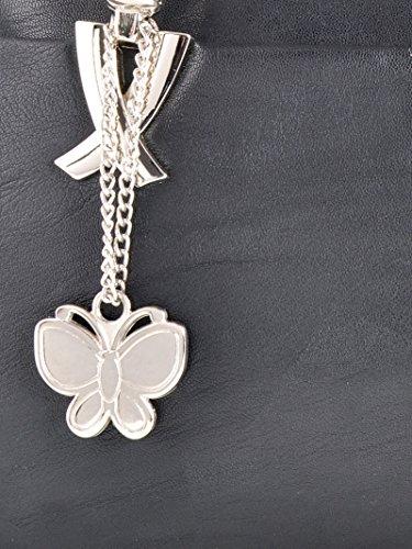 Butterflies Kunstleder Schultertasche Damen Lässige Designer-Handtasche Schwarz