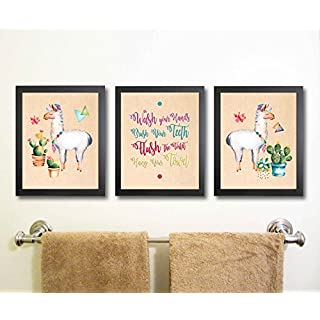 Silly Goose Gifts Llama Themed Bathroom Wall Art Print Decoration (Set of 3) (Wash Up)