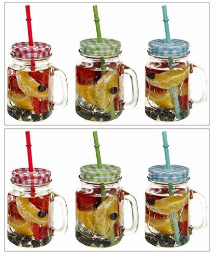 Garden Mile Vintage Stil 480ml Einmachglas Glas Getränke-saft Trinken Krüge Mit Buntem Gingham Kariert Schraubverschluss Deckel Und Strohhalme. Neuheit Sommer BBQ Partei-picknick Gläser (Bunte Krug)