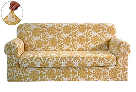 CHUN YI Printed Sofa Covers 2-Piece Polyester Spandex Fabric Stretch Slipcovers (Sofa, Yellow Flower)