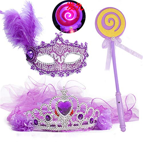 ZjkMr Halloween Kindermaske Damen Prom Princess Girl Crown Veil Festliche Party Dress Up Makeup Maske Halbes Gesicht + Glow Veil + Glowing Lollipop + Princess Mask (9 Option)