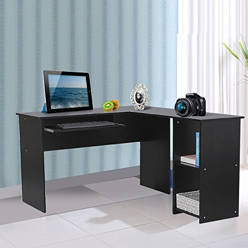 120 x 140 x 75 cm Large Corner Computer Desk Home Office Furniture Study table workstation unit with Sliding Keyboard and 2 Shelves, black