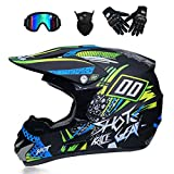 NBZH Casque Motocross Adulte Off Road Dot Dirt Bike Moto VTT VTT VTT Casque Intégral Casque Complet MX Offroad/Masques / Masque/Gants (XL, Style 4),Asianblue,S