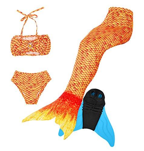 Superstar88 Meerjungfrau Badeanzug Mädchen Niedliche Meerjungfrau Kostüm 3pcs Bikini-Sets Kinder Schwimmflossen (110, Orange+flossen)
