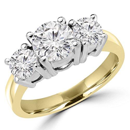 2/3 CTW Three Stone Diamond Engagement Ring in 14K Yellow Gold