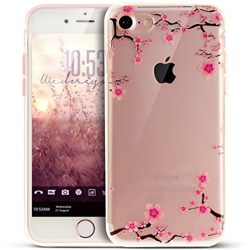 e 8 Hülle,iPhone 7 Hülle,Bunte Kunst Gemalt Muster Kristallklar TPU Silikon Handy Hülle Tasche Crystal Case Durchsichtig Schutzhülle für iPhone 8/7 Hülle,Blumen Pflaumenblüte #1 ()