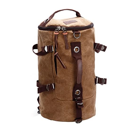 Generic Impoted Men Vintage Canvas Leather Hiking Travel Backpack Messenger Tote Bag Coffee-Dark Brown Color
