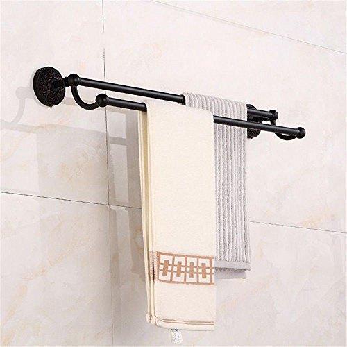 Yomiokla accessori per il bagno - cucina, servizi igienici, balcone e anello porta asciugamani in metallo antiquariato in ottone nero montato a parete doppia barra