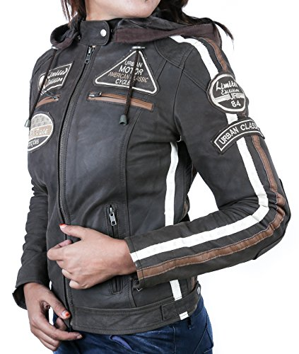 Damen Motorradjacke mit Protektoren, Braun, Große : S - 3