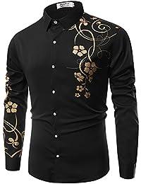 PIZZ ANNU Men's Shirts 3D Morning Glory/Eagle/Peony Print Button Down Long Sleeve Shirts Men Blouse