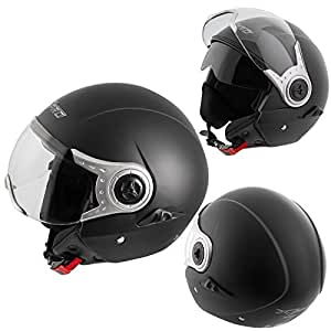 demi jet casque homologu moto scooter visi re pare soleil noir mat m. Black Bedroom Furniture Sets. Home Design Ideas