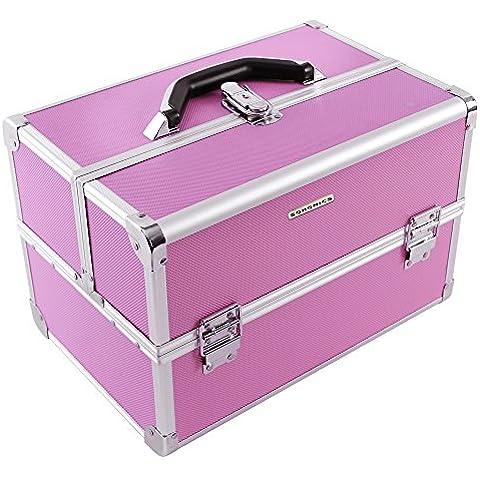 Songmics® Beauty Case Cofanetto Trucco 36,5 x 24 x 24 cm Make Up Bagaglio a mano Valigia Nail Art JBC227