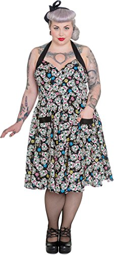 Hell Bunny Damen Kleid Calaveras Sugar Skull Swing Dress (3XL, Schwarz mit buntem Druck - Plus Size)