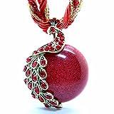 - 51BpdIy9i7L - Pretty Jewelry Retro Bohemia Style Pendant Opal Phoenix Peacock Necklace