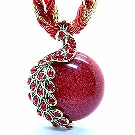 Pretty Jewelry Retro Bohemia Style Pendant Opal Phoenix Peacock Necklace